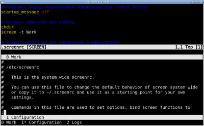 Screen с тремя окнами и двумя регионами на экране